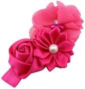Haarband Baby - 3 bloemen - Donker Roze