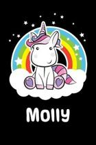 Molly: Personalized Name Notebook Blank Journal For Girls Or Women With Unicorn