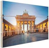 Brandenburger Tor bij zonsondergang Hout 160x120 cm - Foto print op Hout (Wanddecoratie) XXL / Groot formaat!