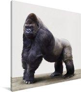 Gorilla dierenprint kinderkamer Canvas 90x90 cm - Foto print op Canvas schilderij (Wanddecoratie woonkamer / slaapkamer)