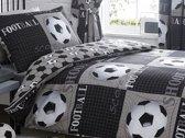 1 persoons dekbedovertrek Voetbal football zwart