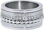 Quiges Dames Stapelring Set RVS Hartjes/Zirkonia Zilverkleurig - Maat 20 - Hoogte 8mm - SRS009S20