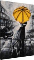 Schilderij handgeschilderd Liefde | Geel , Zwart , Grijs | 70x120cm 1Luik
