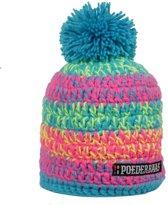 Poederbaas kleurrijke muts - roze/blauw/geel, apres-skimuts, skimuts, wintersportmuts