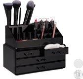 relaxdays make-up organizer - tweedelig - cosmetica opbergdoos + lippenstift houder zwart