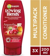 Garnier Loving Blends Argan & Cranberry Kleur Verzorgende Conditioner - 3 x 200 ml - Voordeelverpakking - Gekleurd Haar of Highlights