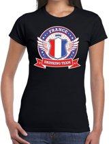 Zwart France drinking team t-shirt dames S