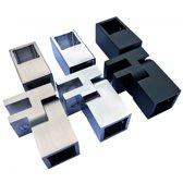 T-adapter met verstelbare glasbevestiging voor stabilisatiestang RVS