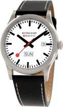 Mondaine  A667.30308.16SBB Sport Day Date - Horloge - Leer - 41 mm - Mat RVS - Zwart