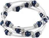Zoetwater parel armband Three Loops Dark Blue Pearl