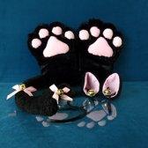 Zwarte Katten Set - 4-delig - oren, staart, poten, strikje - PinkPonyClubnl