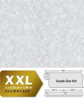 Uni kleuren behang EDEM 9076-20 vliesbehang gestempeld in spachtelputz look en metallic effect wit 10,65 m2