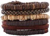 Leren armbanden set met houten kralen en touw