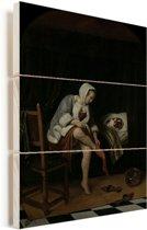 Het morgentoilet - Schilderij van Jan Steen Vurenhout met planken 30x40 cm - klein - Foto print op Hout (Wanddecoratie)