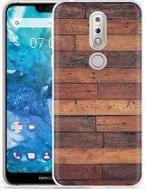 Nokia 7.1 Hoesje Houten planken