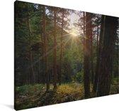 Doorbrekende zon in het Nationaal park Sierra de Guadarrama in Spanje Canvas 30x20 cm - klein - Foto print op Canvas schilderij (Wanddecoratie woonkamer / slaapkamer)