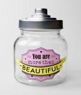 Valentijn - Snoeppot Beautiful - Gevuld met verse snoepmix - In cadeauverpakking met gekleurd lint
