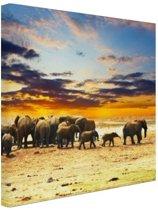 Kudde olifanten zonsondergang Canvas 30x20 cm - Foto print op Canvas schilderij (Wanddecoratie)