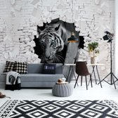 Fotobehang Tiger 3D Hole In Brick Wall | VEL - 152.5cm x 104cm | 130gr/m2 Vlies