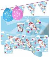 Eenhoorn thema kinderfeestje versiering pakket 9-16 personen - Kinderverjaardag/kinderfeestje eenhoorns dieren thema pakket