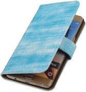 Lizard Turquoise Bookstyle Hoesje - Samsung Galaxy S6 edge Plus