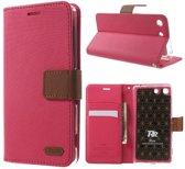 Roar Sony Xperia M5 Hoesje Wallet case hoesje Denim roze