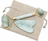 Jade Roller | NU TIJDELIJK MET GRATIS GUA SHA SCHRAPER MASSAGE TOOL |100% Natuurlijke Jade steen | Massage voor gezicht | Anti Aging | Verminderd Rimpels | Gezicht- en huidverzorging