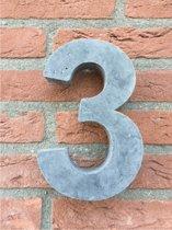 Grote betonnen huisnummer, Hoogte 25cm, huisnummer beton cijfer 3