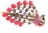 Haarspeld - Groot - Haarclip - Haarsieraad - Haarklem - Haar accessoires - Dames - Pauw - Roze - 12 cm x 6,5 cm - Origineel - Cadeau