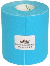 Nasara Kinesio tape - Blauw | Huidvriendelijk | 7,5 cm | Extra breed