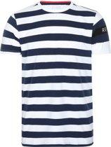 Re-Born Streep Korte Mouw T-shirt Heren - Navy/Wit - Maat L