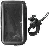 Telefoonhouder Fiets Universeel Waterproof - Smartphonehouder o.a Iphone/Samsung - stuurklem - tot 7.5 inch - Zwart hoesje met doorzichtig folie