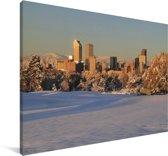 Een besneeuwd Denver in de Verenigde Staten Canvas 180x120 cm - Foto print op Canvas schilderij (Wanddecoratie woonkamer / slaapkamer) XXL / Groot formaat!
