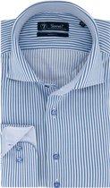 Sleeve7 Heren Overhemd Blauw Witte Streep Twill Modern Fit - 45