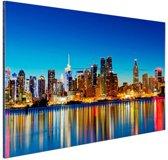 New York Skyline nacht Aluminium 90x60 cm - Foto print op Aluminium (metaal wanddecoratie)