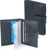 Zwarte Creditcardhouder Pasjesmapje - Pasjeshouder -  Echt Leer voor 22 pasjes