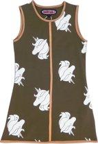 Happy Nr. 1-meisjes-jurk, kleed-Unicorn-Paard-Eenhoorn-kleur: kaki, wit, goud-maat 128