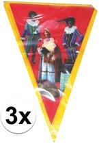 3x Vlaggenlijn Sinterklaas Sint en Piet - 5 meter - slingers