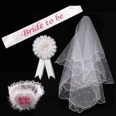 Bride To Be Versiering Decoratie Set Sjerp/Sluier/Tiara- Vrijgezellenfeest Team Accessoires