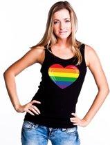 Gay pride singlet shirt/ tanktop met Regenboog vlag in hart zwart dames M