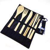 Bamboe bestek - 8-delige set - Zwart - 1 persoons