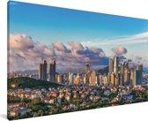 Skyline van Qingdao in China Canvas 40x20 cm - Foto print op Canvas schilderij (Wanddecoratie woonkamer / slaapkamer) / Aziatische steden Canvas Schilderijen