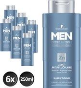 Schwarzkopf Men Shampoo Anti-roos 250 ml - 6 stuks - Voordeelverpakking