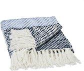 relaxdays plaid - 130 x 170 cm - acryl   katoen - geruit patroon - deken - wit-blauw-zwart