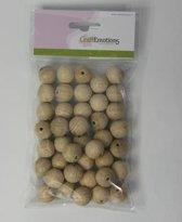 Craftemotions houten ballen / kralen met gat - naturel - 2cm - 40 stuks