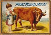 Trinkt Pfunds Milch Metalen wandbord  in reliëf 20 x 30 cm.