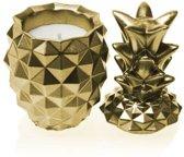 Geel goud gelakte Candellana betonkaars, Ananas Hoogte 16 cm (40 uur)