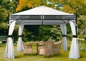 Luxe Tuinpaviljoen (Party)Tent met vier zijwanden - SORARA - Wit - 350 x 350 cm - Vierkant - Hoogwaardige Kwaliteit (UV 50+)