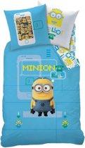 Minions Geek Dekbedovertrek - Eenpersoons - 140x200 cm - Blauw