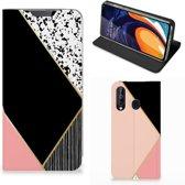 Stand Case Samsung Galaxy A60 Zwart Roze Vormen